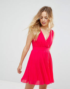 Zibi London Sleeveless Skater Dress - Fushia