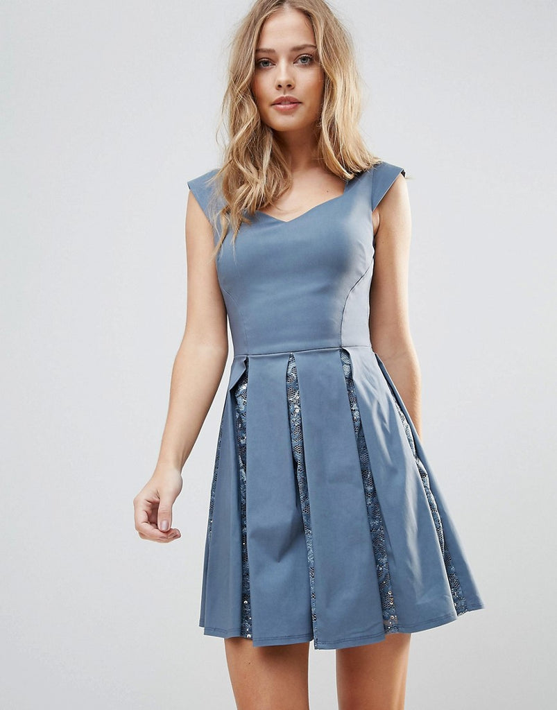 City Goddess Skater Mini Dress With Sequin Pleat Detail - Gunmetal