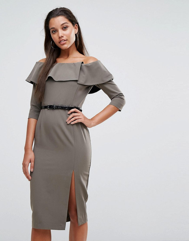Millie Mackintosh Bella Belted Pencil Dress - Khaki