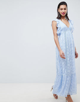 Forever New Embroidered Maxi Dress with Ruffle Detail - Blue
