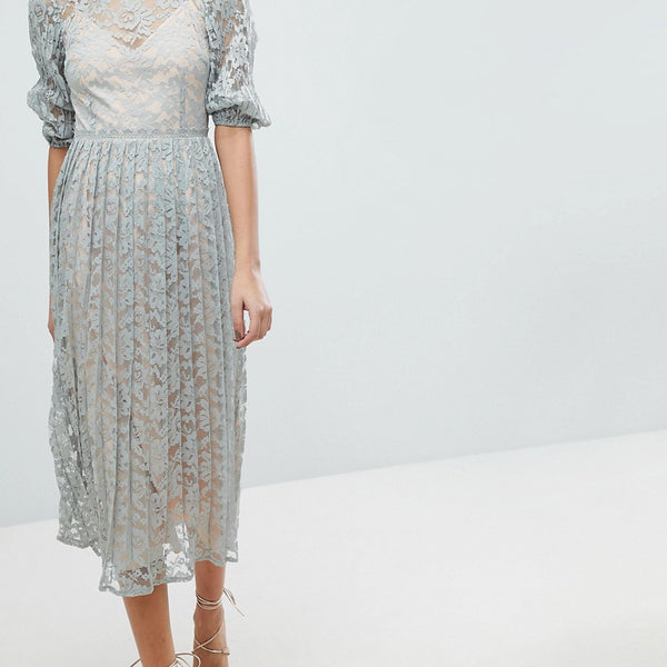 Little Mistress All Over Lace Maxi Dress With Balloon Sleeve Detail - Waterlily