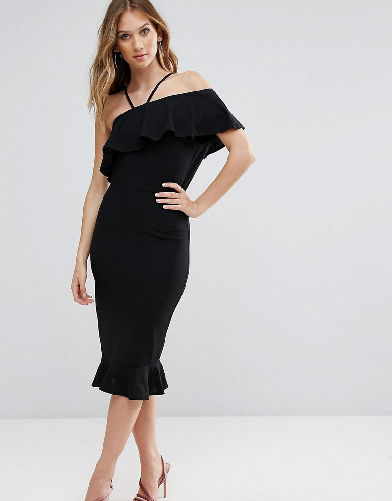 Girl In Mind Emily One Shoulder Frill Midi Dress - Black