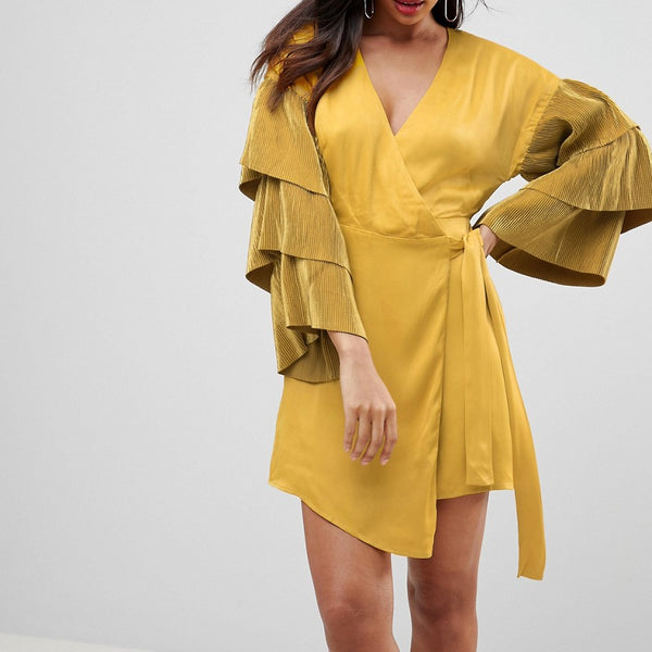 Isla Open Up Wrap Kimono Style Dress - Chartreuse