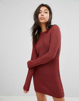 Brave Soul Raglan Jumper Dress - Amber rose