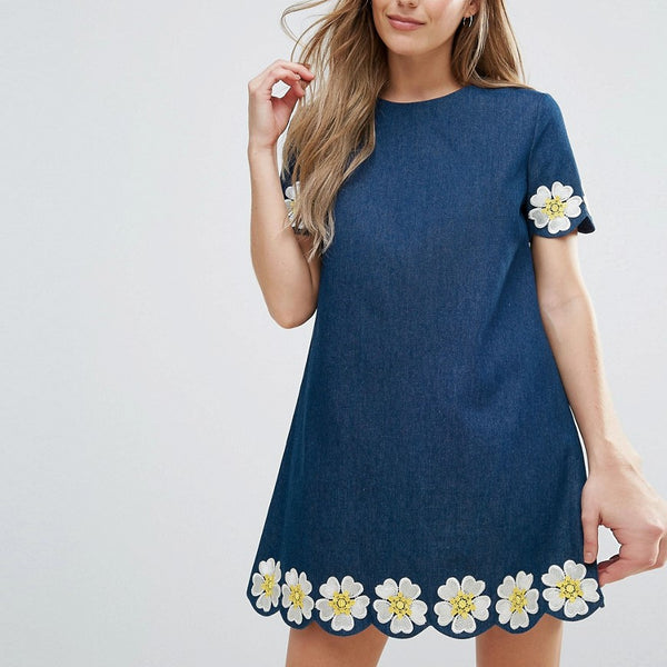 The English Factory Denim Short Sleeve Dress With Daisy Embroidered Detail - Denim