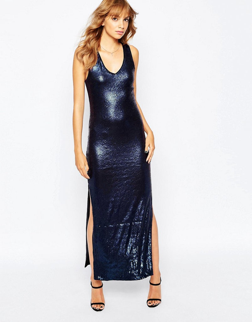Vila Slinky Maxi Dress With Cut Out Back - Navy