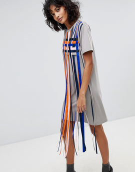 2nd Day Mayra Striped Tassle T-Shirt Dress - Multi