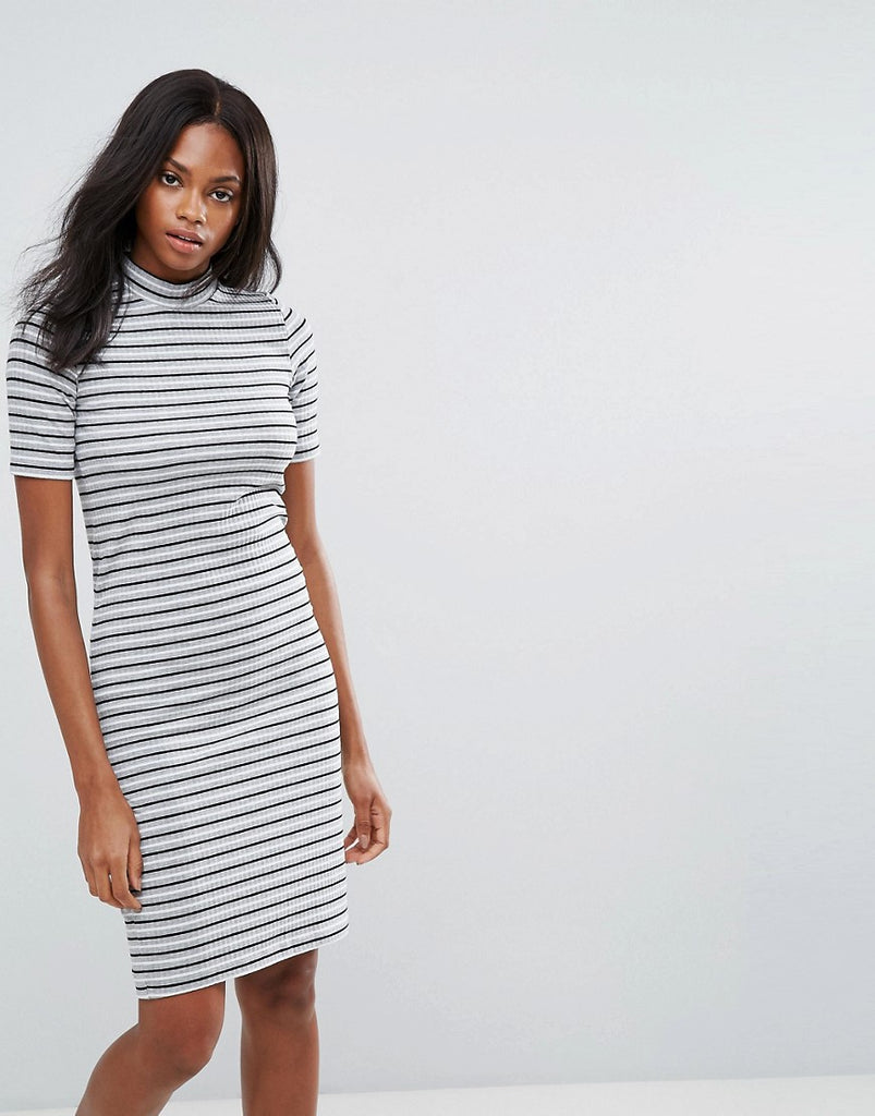 Pieces Maya High Neck Stripe Bodycon Midi Dress - Stripe
