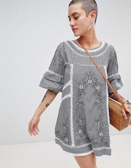Free People Sunny Day Embroidered Shift Dress - Black
