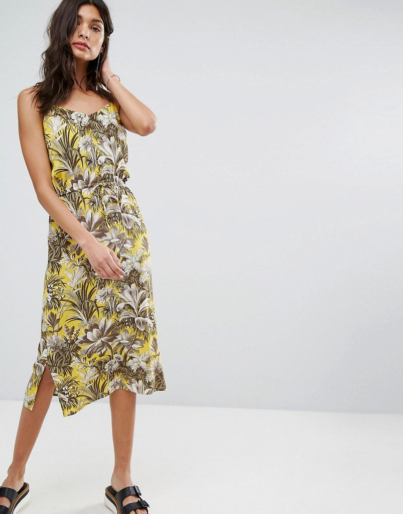 Warehouse Amazon Print Dress - Yellow