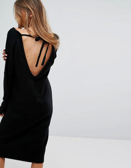 Micha Lounge Tie Back Jumper Dress - Black