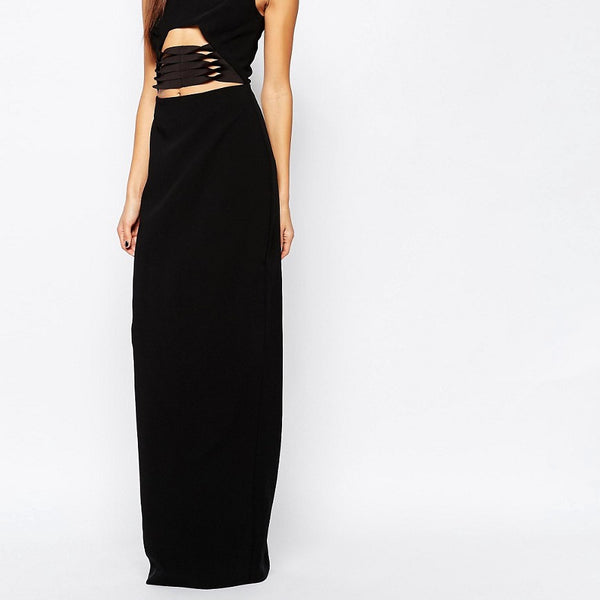 AQAQ Muscan Maxi Dress With Lace Up Waist Detail - Black