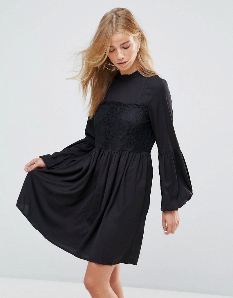 Vila Lace Detail Smock Dress - Black