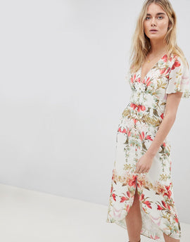 Hope & Ivy Button Front Flutter Sleeve Midi Dress In Mirrored Floral Print - White print