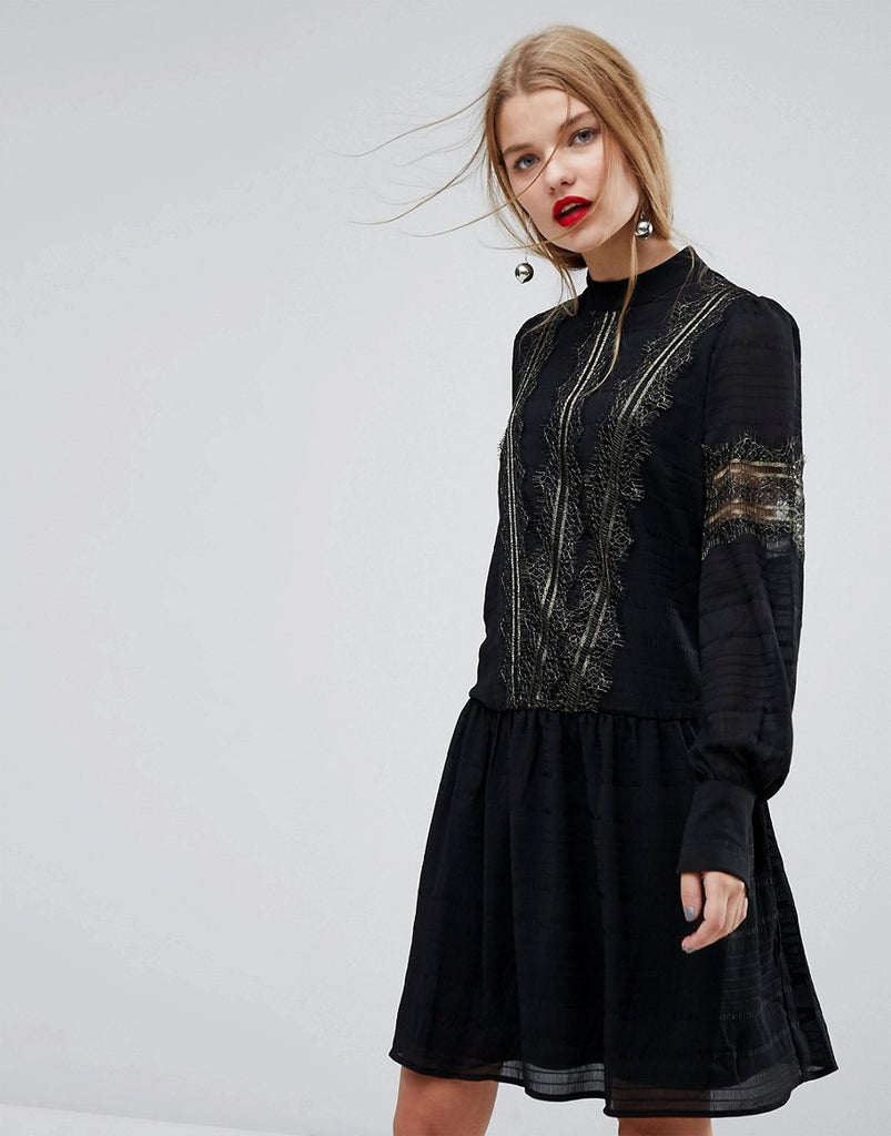 Y.A.S Smock Dress With Gold Lace - Black