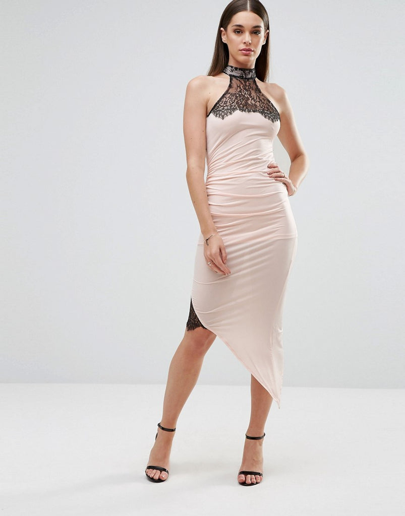 Sistaglam Pencil Dress With Asymmetric Hem And Lace Inserts - White