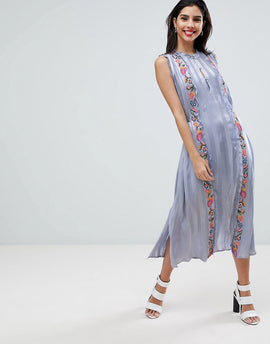 French Connection Floral Embroidered Stripe Shirt Dress - Smoulder