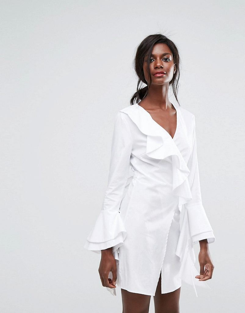 C/Meo Collective Still Standing Ruffle Wrap Dress - White