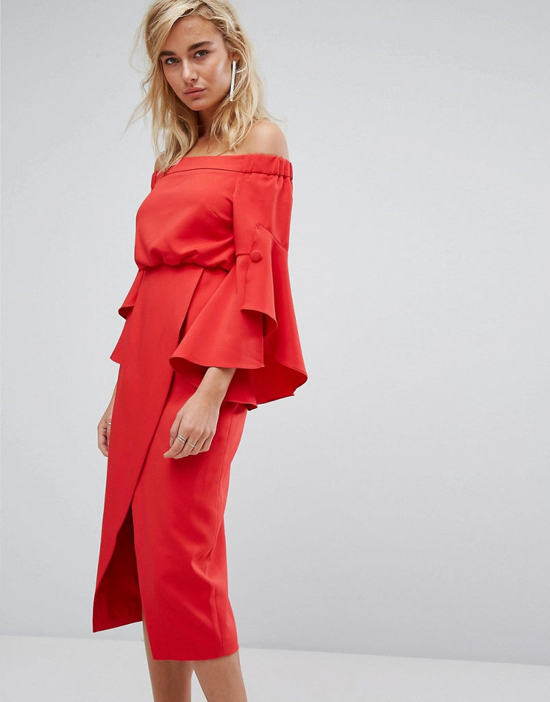 Lavish Alice Off The Shoulder Midi Dress With Bell Frill Sleeves - Red