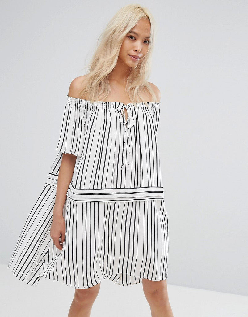 Isla Off Runaway Off Shoulder Printed Dress - Black / white