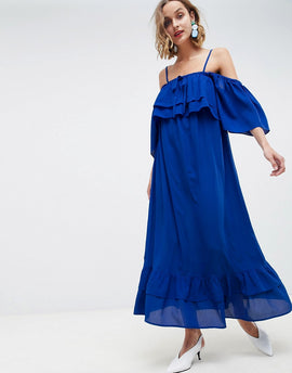 Lost Ink Cami Maxi Dress With Ruffle Layered Hem - Cobalt blue