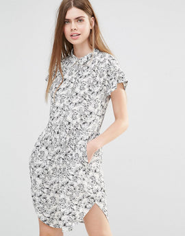 Y.A.S Summery Dress In Illustrated Floral Print - White/black