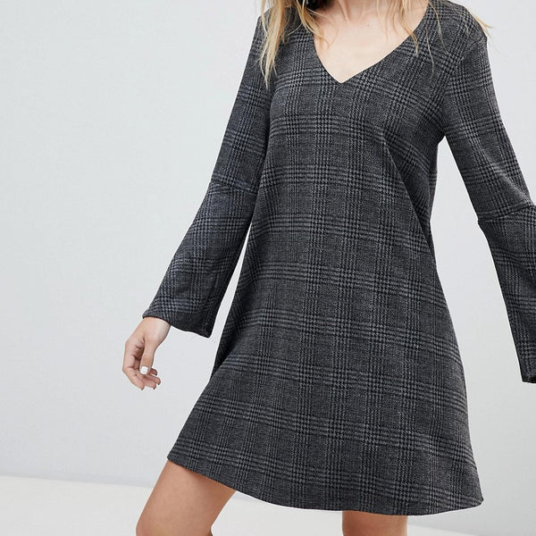 Mango V Neck Check Dress - Grey