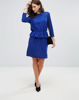 Y.A.S Civa Peplum Waist Pencil Dress - Cobalt