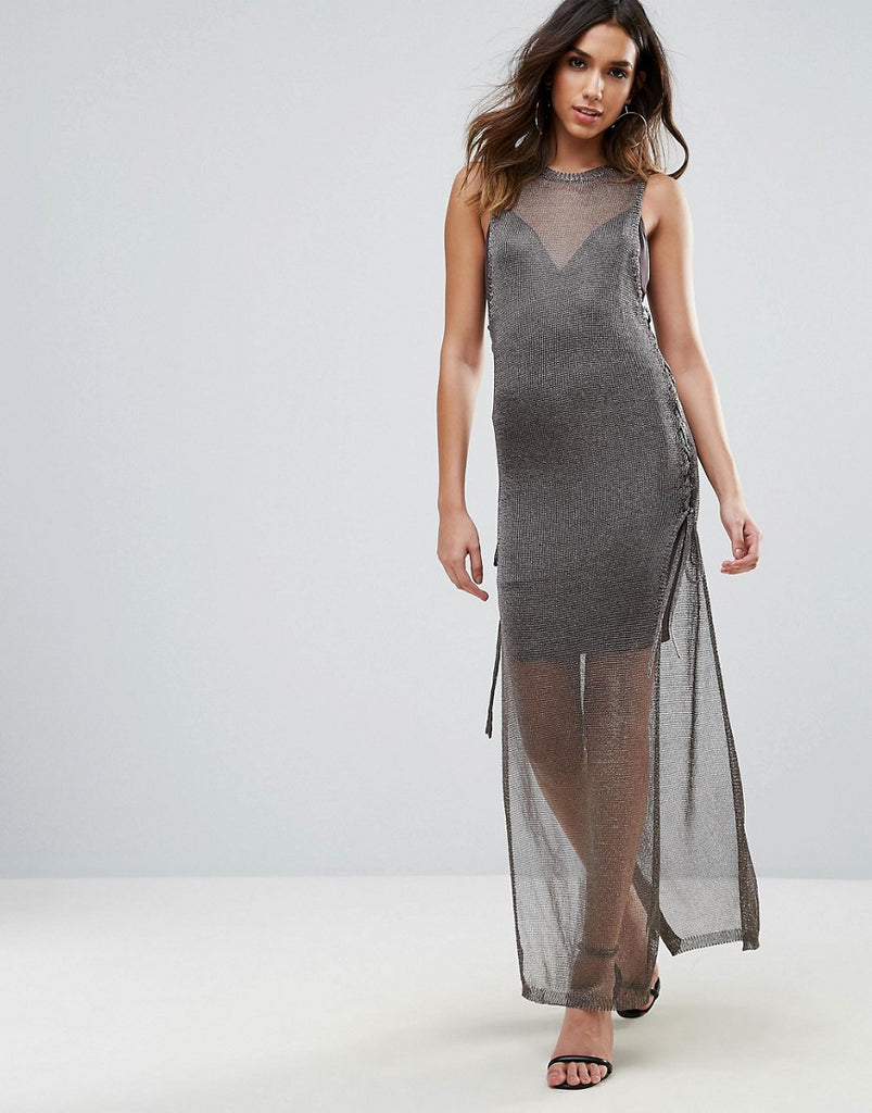 WOW Couture Metallic Crochet Knitted Lace Up Side Maxi Dress - Charcoal