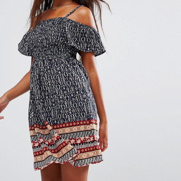 QED London Border Print Cold Shoulder Shirring Dress - Navy