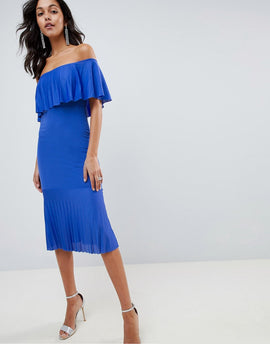 ASOS DESIGN pleated bardot fishtail midi dress - Cobalt blue