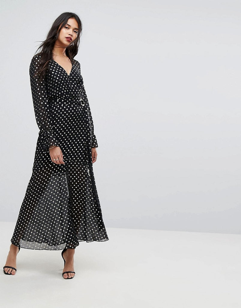 Forever New Maxi Dress with Metallic Spot - Black/gold