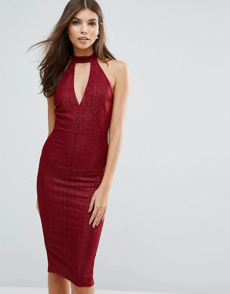 AX Paris Midi Bodycon Dress With Choker Detail - Wine