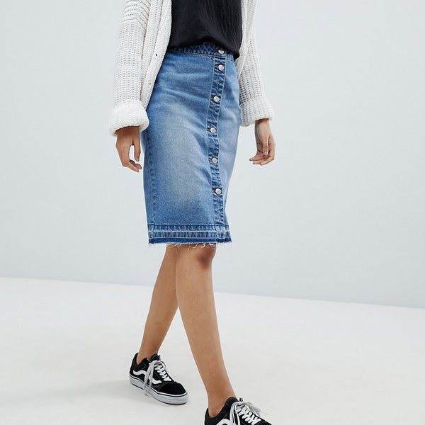 JDY Button Denim Skirt - Light blue denim