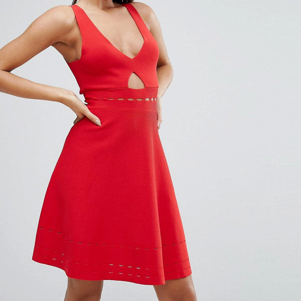 Kendall  Kylie Pointelle Open Back Dress - Bright red