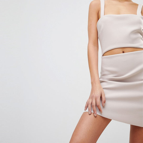 Bec & Bridge Bodycon Mini Dress with Cut-Out - Nude