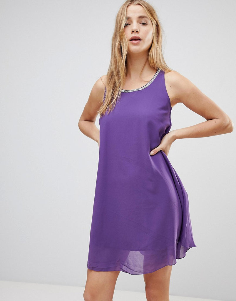 QED London Shift Dress With Embelished Trim - Plum