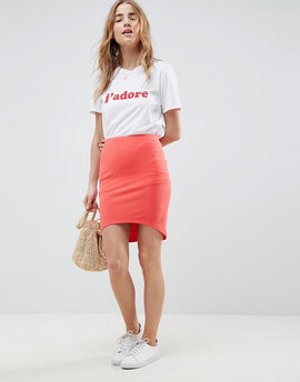 ASOS DESIGN mini skirt with curved hem - Coral