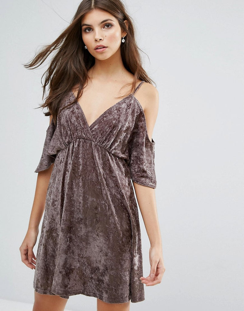 Love Velvet Cold Shoulder Dress - Mink