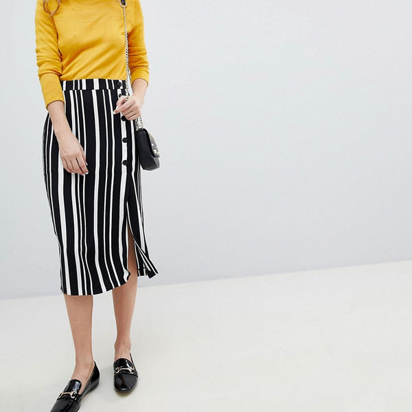 Bershka Midi Skirt In Multi Stripe - Multi