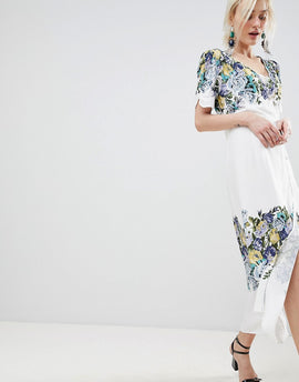 Free People Jaimie Floral Print Midi Wrap Dress - Neutral combo