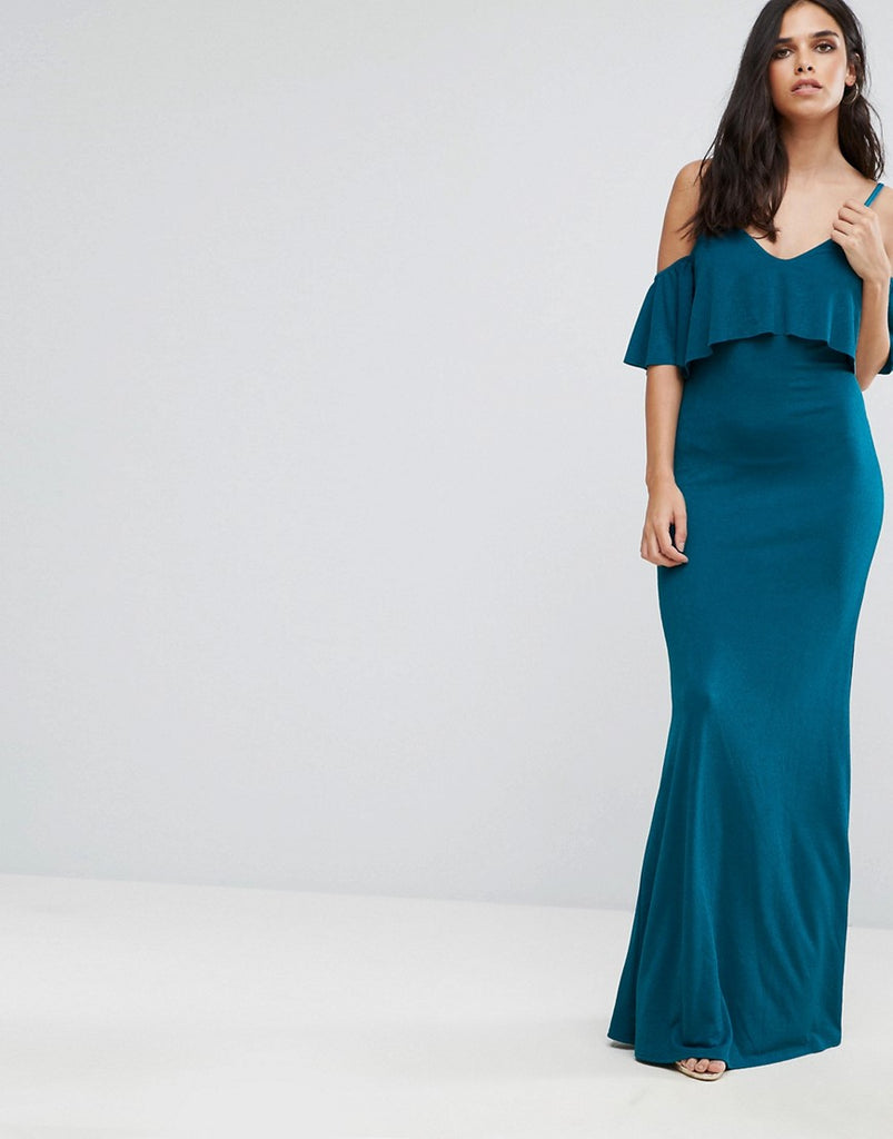 Club L Cold Shoulder Overlay Frill Detail Maxi Dress - Blue