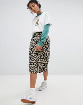Stussy Pencil Skirt In All Over Leopard Print - Leopard