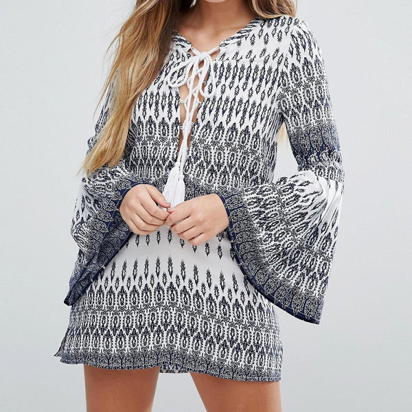 Unique21 Aztec Dress With Bell Sleeves - Blue aztec