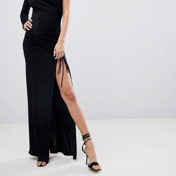 City Goddess One Sleeve Maxi Dress - Black