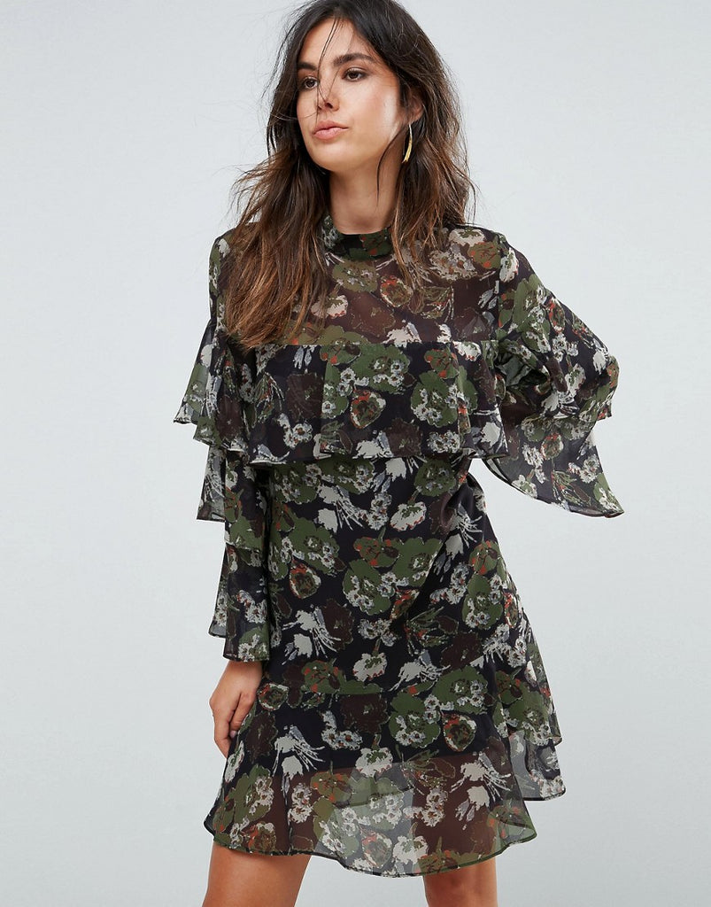 Liquorish Floral Print Tiered Dress - Black olive