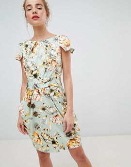 Closet London cap sleeve pencil dress in floral print - Cream multi