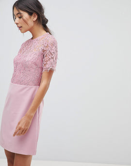 Oasis Lace Sleeved Shift Dress - Lilac