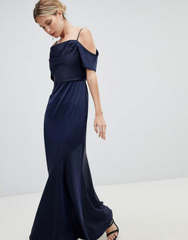 Oasis Occasion Slinky Cowl Neck Maxi Dress - Navy