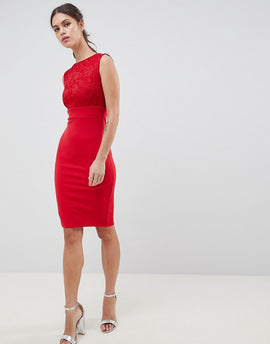 City Goddess Sleeveless Lace Midi Dress - Red